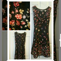Comfy silky dress with floral print & tie back!  Silky dress with floral print and tie back. Very comfy. No size but easily M-L. V neck. Looks great with a brim hat! Anthropologie Dresses Mini