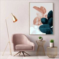 Fashion Floral Posters Pink Rose Green Leaves Wall Art Fine Art Canvas Prints Stylish Salon Art Pictures For Modern Living Room Bedroom Glam Home Decor - myeasyidea sites Leaf Wall Art, Floral Wall Art, Wall Art Decor, Floral Prints, Living Room Bedroom, Living Room Decor, Bedroom Decor, Deco Rose, Wall Prints