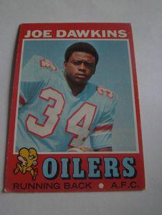 Joe Dawkins #141 1971 Topps Football Card Oilers Running Back A.F.C #Oilers