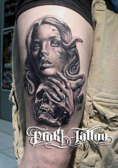 Skull and broken woman (medusa) tattoo