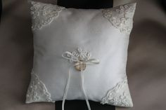 Romantic, cream silk Dupioni, ring bearer wedding pillow.