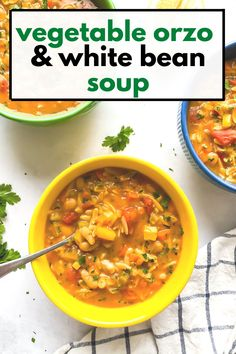 Orzo Recipes, Healthy Soup Recipes, White Bean Soup, White Beans, Hearty Vegetarian Soup, Orzo Soup, Cleanse Program, Small Pasta, Kale And Spinach