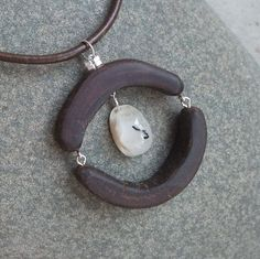 Wood necklace with Agate   unique by NaturesArtMelbourne on Etsy, $66.00