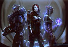 Teamwork by shalizeh Mass Effect female fighter sorcerer wizard warlock astronaut mutant military soldier future armor clothes clothing fashion player character npc | Create your own roleplaying game material w/ RPG Bard: www.rpgbard.com | Writing inspiration for Dungeons and Dragons DND D&D Pathfinder PFRPG Warhammer 40k Star Wars Shadowrun Call of Cthulhu Lord of the Rings LoTR + d20 fantasy science fiction scifi horror design | Not Trusty Sword art: click artwork for source