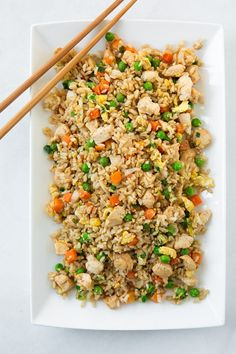 Chicken Fried Rice- the trick to fried rice is making sure the rice is refrigerated over-night, it must be cold or you'll end up with slop.