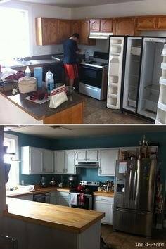 Kitchen renovation before & after with $200 wood countertops and painted cabinets.