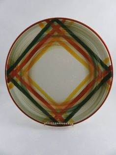 Vernonware 12 1/4  Homespun Platter or Chop Plate - Large Vernon Kilns Green Rust Gold and Cream Plaid Serving Plate for sale on etsy by CheekyBirdy & 2 Dansk Caribe Aruba Orange Dinner Plate Red Yellow Green 10 5/8 ...