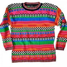 Bright 80s Tacky Ugly Cosby Sweater for Girls Women\'s Size Small\ Medium (S\ M)