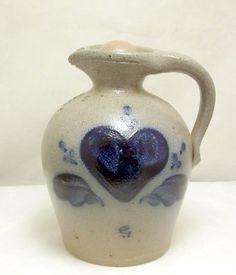 Rowe Pottery Works salt glaze jug heart motif 1988 Ric Lamore