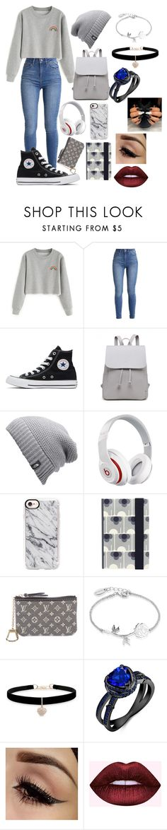 """:):"" by aesthetic-fashion on Polyvore featuring Converse, The North Face, Beats by Dr. Dre, Casetify, Orla Kiely, Louis Vuitton, Disney and Betsey Johnson"