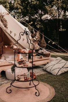 Tiered Charcuterie Platter from a Luxe Bohemian Sleepover Party on Kara's Party Ideas | KarasPartyIdeas.com (10)