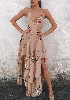 Buy Khaki Floral Irregular Cross Back Condole Beltl Zipper Maxi Dress online with cheap prices and discover fashion Maxi Dresses,Cheap Dresses,Dresses,Dress,Fashion Dresses,Maxi Dresses,Maxi Dress,Women Dresses at Loverchic.com.