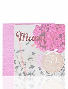 Photographic Floral 50 Mum Birthday Card