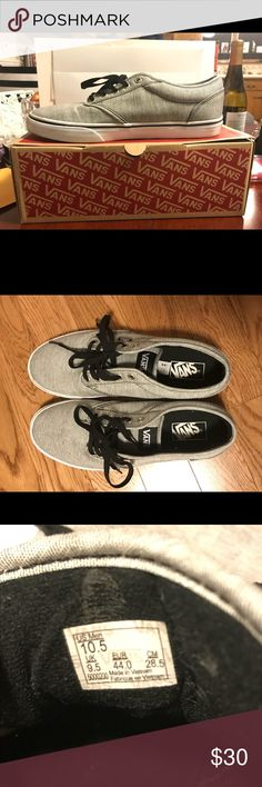 Men's Vans shoes 10.5 Men's Atwood vans shoes, only worn once 10.5, grey and white Vans Shoes Sneakers