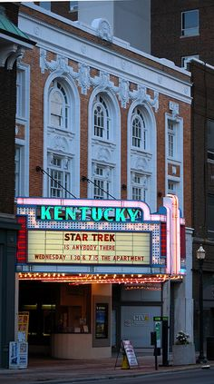 The Kentucky Theater is located in downtown Lexington and is a favorite of the locals.  It's iconic facade is only surpassed by it's lovely interior......as seen in another picture on this board!