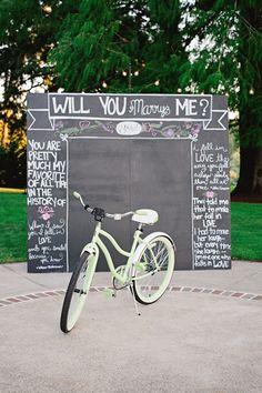 Chalkboard wedding proposal You Make My Heart Sing | Oregon Wedding Photographer