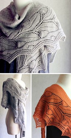 """Knitting Pattern for Oakberry Shawl - Wrap yourself in this crescent-shaped shawl with its lovely vintage oak lace border and charming acorn embellishments. Sizes: Shawl shown measures 17"""" wide at center back by 80"""" long (not including acorn embellishments). It can be made longer or shorter, wider or narrower, as you like. Any yarn from lace weight to chunky can be used for this shawl. The samples shown used worsted weight (gray) and light sport weight (orange). Designed by Carol Sunday."""