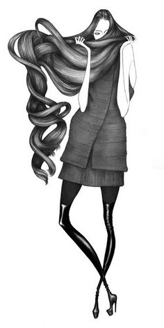 Illustrations for Rad Hourani Spring/Summer 2009 Collection | Laura Laine #fashion #illustration | http://www.lauralaine.net/