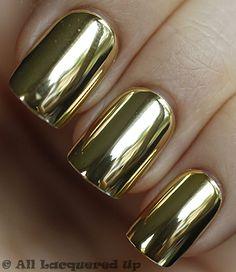 Chrome gold nails.