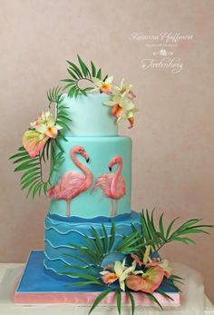 Tropic Orchid - cake by Tortenherz Tropic Orchid - Kuchen von Tortenherz Flamingo Cake, Flamingo Birthday, Hawaiian Birthday, Birthday Cake Girls, Orchid Cake, Hawaian Party, Beach Cakes, Elegant Wedding Cakes, Tropical Party