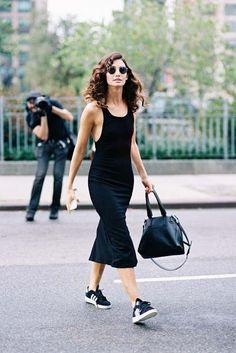 Long dress black sneakers