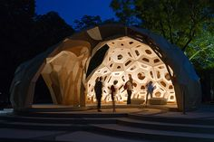 Inspired by the structure of the sea urchin, this wooden pavilion joins biology and structural form with computational design. Biomimicry Examples, Wooden Pavilion, Natural Structures, Geodesic Dome, Source Of Inspiration, Computer, Us Travel, Travel Guide, Inventions