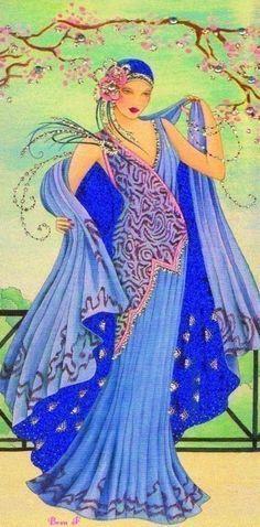 Blue - clinton art deco ladies - Google Search