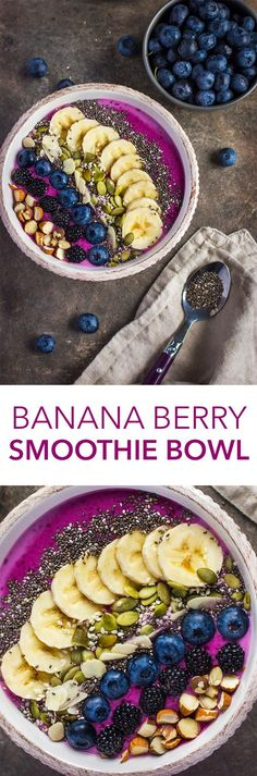Banana Berry Smoothie Bowl With blueberries blackberries bananas chia seeds and more this smoothie bowl is just what you need to power up for the day. Healthy Smoothies, Healthy Drinks, Healthy Snacks, Healthy Eating, Healthy Recipes, Easy Recipes, Fruit Snacks, Diet Recipes, Fruit Smoothies