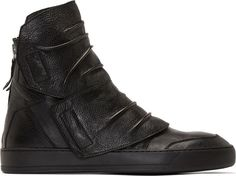 Alexandre Plokhov SSENSE Exclusive Black Creased Leather High Top Sneakers