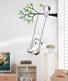 teddy on a swing decal