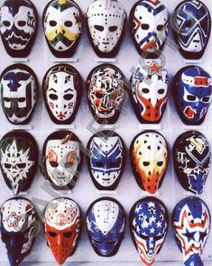 i love hockey! these old vintage goalie masks are sick Montreal Canadiens, Mtl Canadiens, Rangers Hockey, Hockey Goalie, Hockey Helmet, Pro Hockey, Hockey Teams, Hockey Rules, Hockey Logos