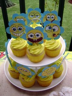 Spongebob Squarepants Cupcake Tower- So cute! Great for a kids party! Or for any Spongebob Squarepants fan! Spongebob Birthday Party, Boy Birthday Parties, Birthday Party Decorations, Birthday Ideas, 5th Birthday, Sponge Bob Cupcakes, Spongebob Squarepants, First Birthdays, Unicorn Surprise