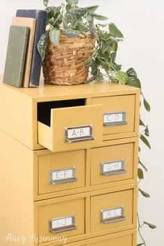 These started out gray, scratched, dented, and rusty. A few simple steps later and thise metal card catalog looks brand new! Old Drawers, Metal Drawers, Mustard Yellow Paints, Decorating Your Home, Diy Home Decor, Craft Closet Organization, Wood Front Doors, Yellow Painting, Retro Home