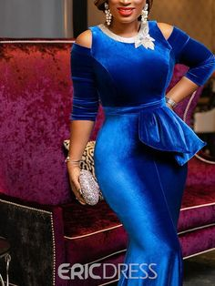 Vintage party elegant luxury sexy office ladies women long dresses plus size blue ruffle bodycon retro female evening maxi dress - African Lace Dresses, Latest African Fashion Dresses, African Dresses For Women, Bodycon Dress Parties, Party Dress, Classy Dress, Casual Dresses, Long Dresses, Lovely Dresses