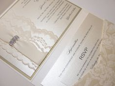 DESIREE Gorgeous Lace Pocketfold Wedding Invitations with Rhinestone Brooch and Floral Pattern Pocketfold