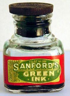 Sanford Green Ink l imprinted stopper v0042 Vintage Fountain Pen Ink Bottle