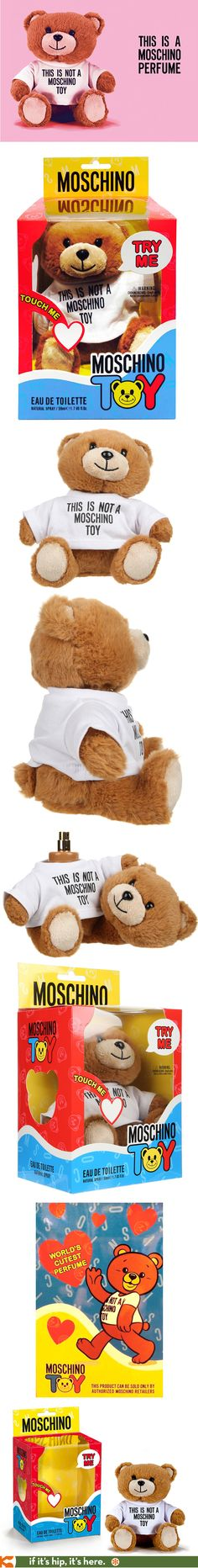 Moschino TOY by Jeremy Scott is not a toy, but a fragrance that is placed inside a plush teddy bear whose head is removable.