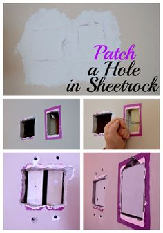 Easy Home Repair Hacks - Patch A Hole In Sheetrock - Quick Ways To Fix Your Home With Cheap and Fast DIY Projects - Step by step Tutorials, Good Ideas for Renovating, Simple Tips and Tricks for Home Improvement on A Budget Funky Home Decor, Diy Home Decor, Diy Projects Step By Step, Home Renovation, Home Remodeling, Shabby, Diy Home Repair, Home Repairs, Do It Yourself Home