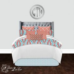 Apartment bedding and home bedding by Decor 2 Ur Door. Custom twin, full, queen, and king bedding sets featuring unique and stylish designs! Dorm Room Bedding, Teen Bedding, Bedroom Ideas, Bedroom Decor, Master Bedroom, Custom Pillows, Custom Bedding, Teal Bedding Sets, Teen Room Makeover