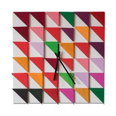 Summer flaggs / Wood wall clock / Geometric mosaic / Unique design Liliana Stoica ▀▄ ▀▄ ▀▄ Original artwork - tridimensional wood wall art To work with a material as wood, to give it geometrical shapes, its like telling a story. A story without words, which starts from pure passion for
