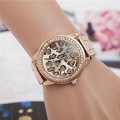 #Women's  Fashion Leopard Rhinestones Steel Belt Quartz Wrist Watch(Assorted Colors)