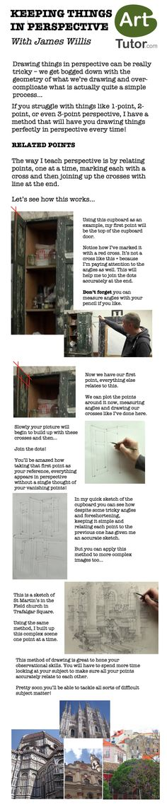 Do you struggle to draw in perspective? Here is a handy guide explaining James Willis' stress-free perspective drawing. Plus! Follow the link to download a free worksheet!