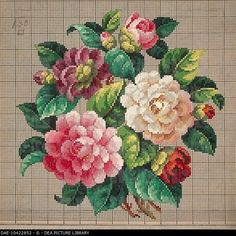 Embroidery, Germany 19th century. Bunch of roses embroidery design. DAE-10422852 © DEA PICTURE LIBRARY