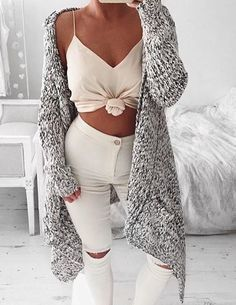 sexy strapless top ripped white jeans long knitted cardigan=comfy fall look