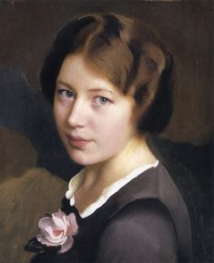 The Athenaeum - Girl With A Pink Rose (William MacGregor Paxton - No dates listed)