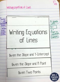 Writing Equations of Lines Flipbook for algebra 1 or geometry interactive notebooks