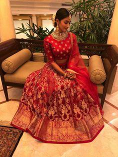 Stunning Pooja Hegde in Sailesh Singhania red color lehenga and designer blouse and net dupatta. Indian Wedding Outfits, Bridal Outfits, Indian Outfits, Bridal Dresses, Lehenga Designs, Indian Attire, Indian Wear, Henna, Banarasi Lehenga