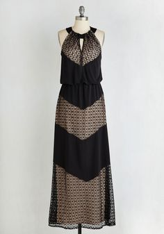 Rare and Remarkable Dress in Diamonds. Youre renowned for your elegant edge, which you channel when you slip into this marvelous maxi! #black #modcloth