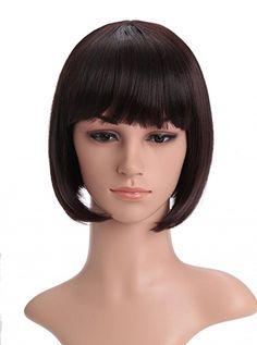 Amazon.com: LOUISE MAELYS Womens Short Flat Bang Straight Bob Hair Cosplay Party Wig: Clothing