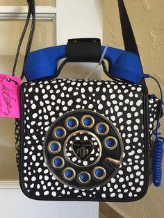 Betsey Johnson BJ61900H Phone a Friend Crossbody Spot Blue Telephone Purse  | eBay